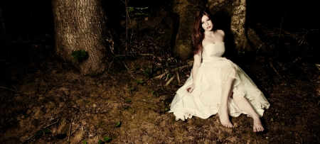 A bride sitting beneath a tree in dark woods Stock Photo