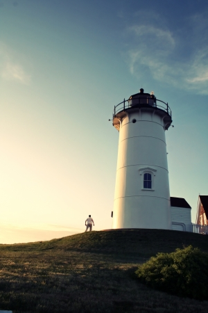 lighthouse keeper: Lighthouse Keeper at the Nobska Lighthouse on Cape Cod