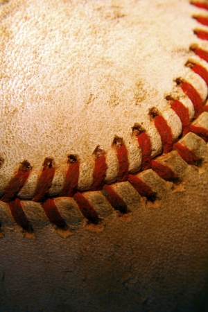old leather: Closeup of an old used baseball