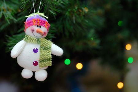 Snowball toy on christmas tree photo