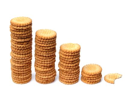 descending: Descending graph made out of stacks of cookies