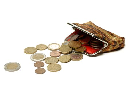 Purse and euro coins isolated on white background