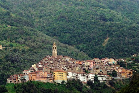 Panoramic view of small town Castel Vittorio. Liguria. Italy Stock Photo