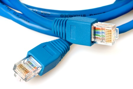 internet  broadband: Closeup of blue network cable with jack