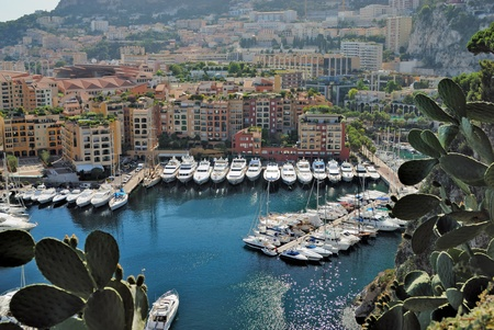 Yachts and apartments in port Fontvielle in Monte Carlo