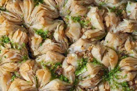 comida arabe: Dulces de Oriente. Fondo de baklava