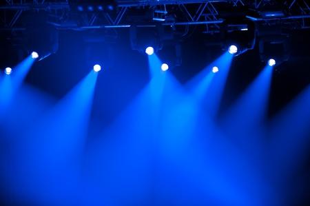 blue spotlight: Blue stage spotlights