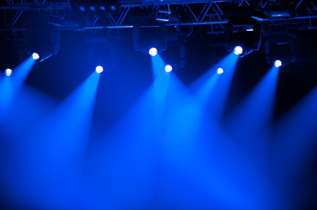 Blue stage spotlights photo