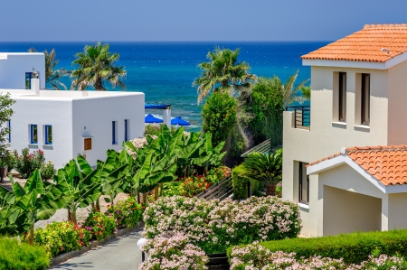 Luxurious holiday beach villas for rent on Cyprus Stock Photo