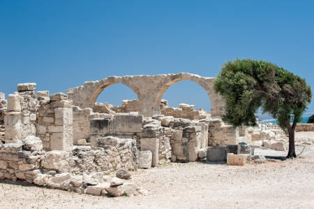 Ruins of an early Christian basilica in ancient town Kourion on Cyprus photo