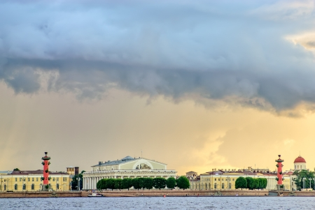 Thunderstorm clouds over Vasilyevsky island in St  Petersburg photo
