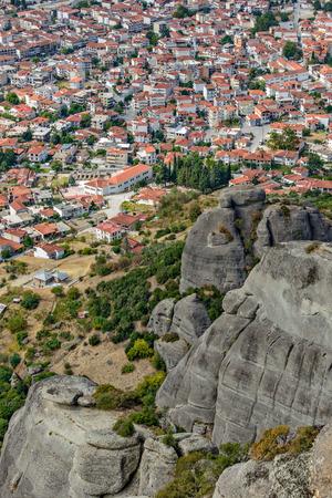 kalambaka: Aerial view of Kalambaka town from Meteora cliffs in Greece Stock Photo
