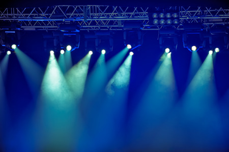 Spotlights and illumination equipment with fog on stage  photo