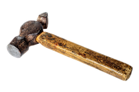 Closeup view of vintage hammer isolated on white  photo