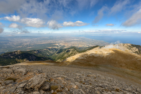 olympus: Panoramic view from Olympus mountain in Greece Stock Photo