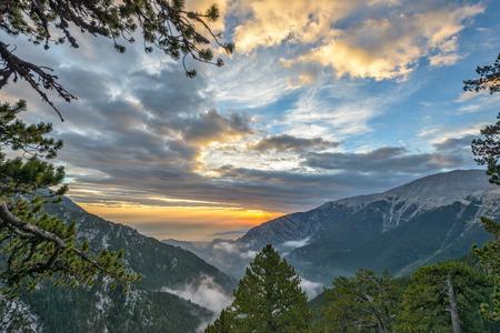 olympus: Sunset landscape in Greece Olympus mountains ridge