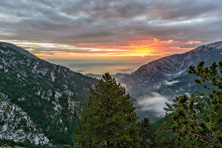 olympus: Sunrise landscape in Greece Olympus mountains ridge Stock Photo