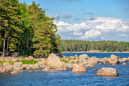 Landscape with forest on stony islands in finland gulf photo