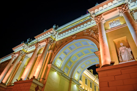 constitutional: Arch of Constitutional Court building in St  Petersburg at night illumination