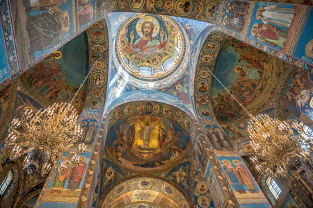 Interior of Savior on the Spilled Blood Cathedral in St. Petersburg. Russia