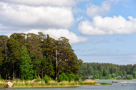 Landscape with forest on stony islands in finland gulf and residential houses on far coast photo
