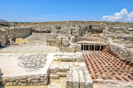 Ruins of ancient town Kourion in archaeological museum on Cyprus