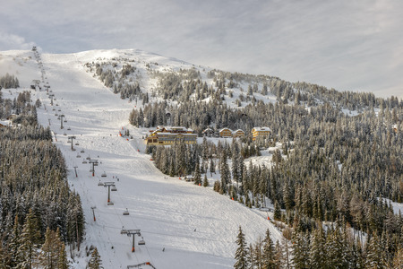 chairlift: Skiing slopes with chairlift on ski resort in Austrian Alps
