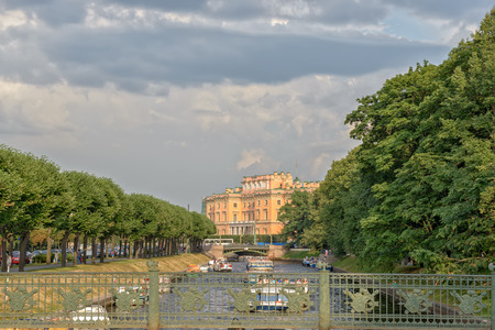 Mikhailovsky castle and Fontanka canal in St. Petersburg. Russia