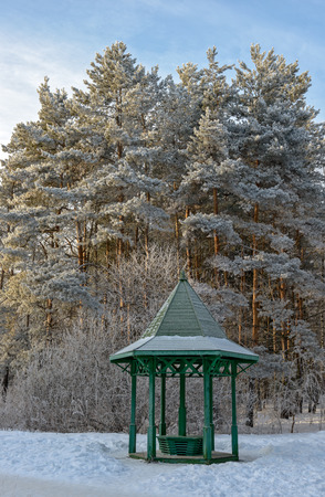 arbour: Trees and wooden arbour covered with hoarfrost in winter garden