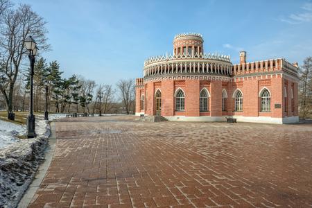 tsaritsino: Brick ornate pavilion in Tsaritsino park. Moscow. Russia