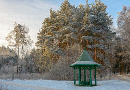 Bäume und hölzerne Laube bedeckt mit Raureif im Wintergarten