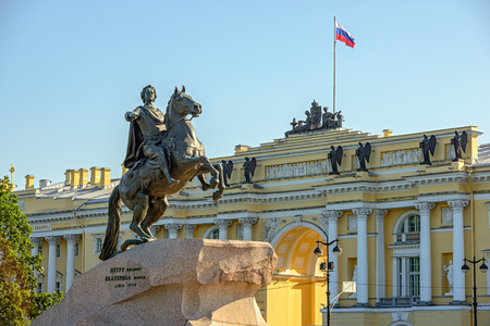 Bronze horsman - statue of Peter the Great on Senate square in St. Petersburg Stock Photo