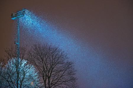Spotlight and night snowfall Stock Photo