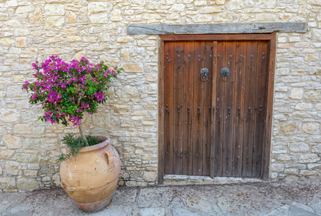 Old door in the brick wall Stock Photo