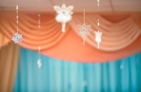 Holiday background with fairies and snowflake Stock Photo