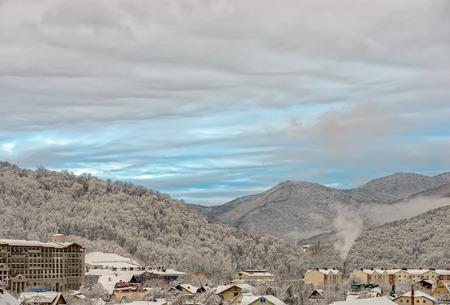 Sochi winter mountain resort landscape. Russia