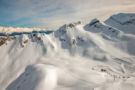 Winter mountain landscape - ski resort in Sochi, Russia Stock Photo