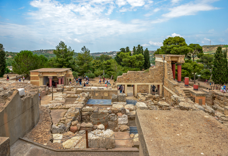 Knossos palace archaeological site on Crete, Greece