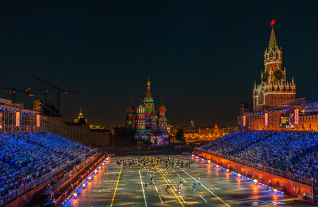 Moscow, Russia - 08.28.2018 - 09.02.2018: Festival Spasskaya Tower of military orchestras on Red Square in Moscow. Editorial