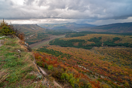 Autumn landscape of mountains and forest in Crimea
