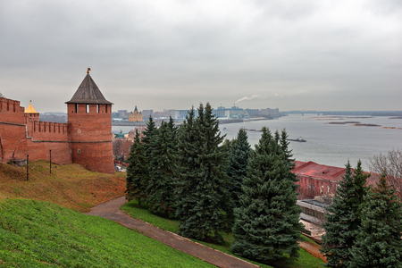 Tower and wall of fortress on river bank in Nizhny Novgorod, Russia