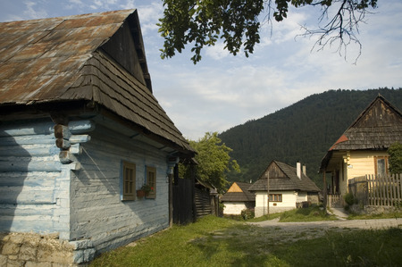 folk heritage: Vlkol�nec is part of the UNESCO World Heritage since 1993, and one of ten Slovak villages that have a status of a village preserve. It is because of being an untouched and complex example of folk countryside architecture of this region of the Northern Car Stock Photo