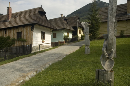 untouched: Vlkol�nec is part of the UNESCO World Heritage since 1993, and one of ten Slovak villages that have a status of a village preserve. It is because of being an untouched and complex example of folk countryside architecture of this region of the Northern Car Stock Photo
