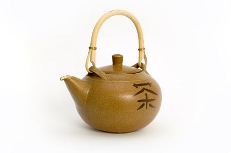 tankard: Brown tea jar with chinese sign of tea