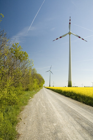 Wind generators with rapeseed fields.  Stock Photo - 1471303