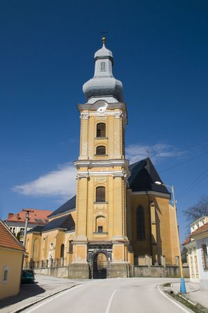 assumption: Slovakia, Roznava, cathedral church  of the Assumption of Virgin Mary  Stock Photo