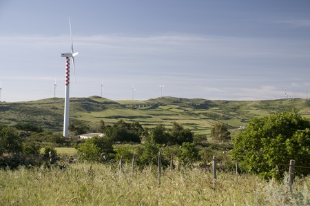 Wind turbines in the mountain riff, Sicily ,Italy Stock Photo - 7468077