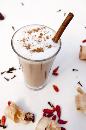latte: Cup of indian spicy chai latte