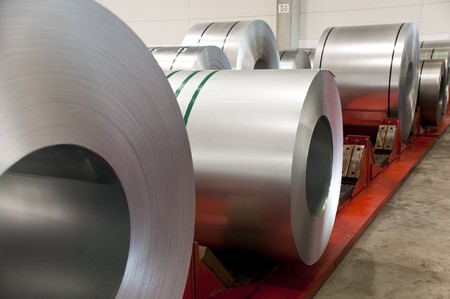 steel factory: Huge rolls of tinplate in the factory Stock Photo