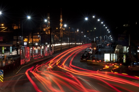 istanbul night: Galata bridge with car light trails, Istanbul, Turkey
